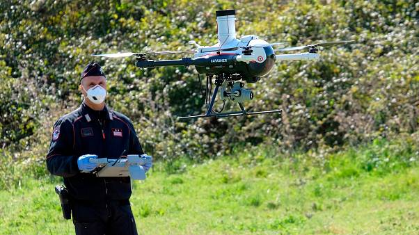 Police test a drone in Italy