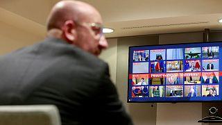Charles Michel presidiu a um tenso Conselho Europeu por videoconferência