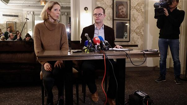 Benjamin Blanchard (R), director general SOS Chretiens d'Orient during a press conference in Paris on January 24, 2020 after four employees went missing in Iraq.