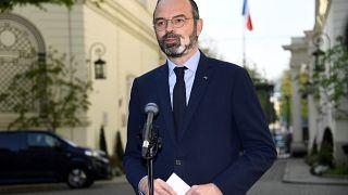 Allocution du Premier ministre français Edouard Philippe devant le ministère de l'Intérieur, à Paris, le 27 mars 2020