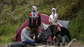 Νεοαφιχθέντες πρόσφυγες στη Λέσβο