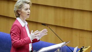 President of European Commission, Ursula Von der Leyen attends a mini plenary session of European Parliament in Brussels, Belgium,  on March 26, 2020.