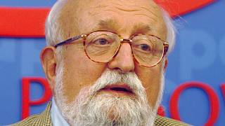 Polish composer Krzysztof Penderecki at a news conference in Warsaw, Poland, Monday, Sept. 16, 2013.