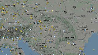 A FlightRadar térképe 2020. március 29-én kora délután