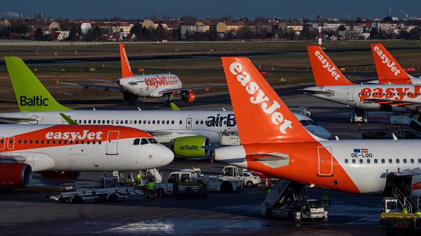 file photo taken on December 29, 2019, an aircraft operated by British low cost airline Easyjet prepares for take off