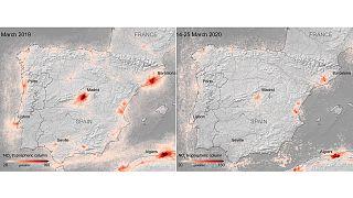 Dióxido de nitrógeno sobre la Península Ibérica del 14 al 15 de marzo de 2020 y en el mismo periodo de 2019