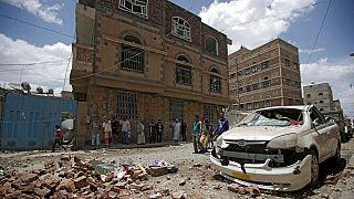 تصویری از حملهٔ هوایی نیروهای ائتلاف به رهبری عربستان به صنعا، پایتخت یمن در ماه مه سال ۲۰۱۹