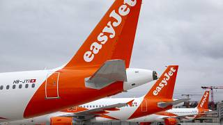 File photo: A large number of easyJet aircrafts are parked on the tarmac of the Geneve Aeroport, in Geneva, Switzerland, Monday, March 30, 2020.