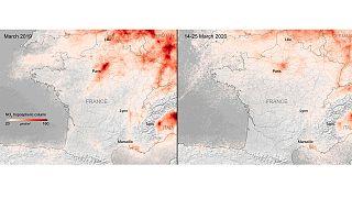 Comparaison de la concentration en NO2 en France entre mars 2019 et la  période 14 au 25 mars 2020.