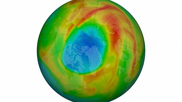 Ozone hole in the Arctic on March 25