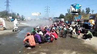 Hindistan'da işçilerin hortumla toplu olarak 'dezefekte' edildiği görüntüler tepki topladı