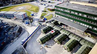 İsveç'in Gothenburg kentinde koronavirüsle mücadele için ordunun kurduğu sahra hastanesi