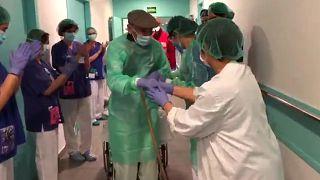 Video | İspanya'nın Katalonya bölgesinde 93 yaşındaki hasta Covid-19'u yendi