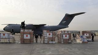 A Turkish military cargo plane is loaded with medical supplies before heading to Italy and Spain, Ankara, Turkey, April 1, 2020.