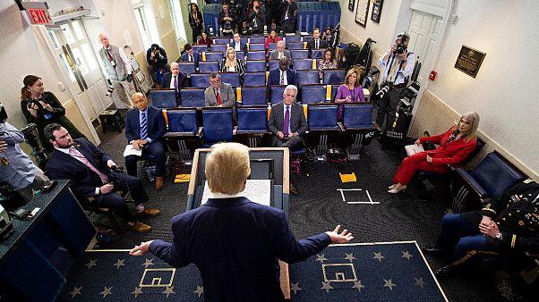 President Donald Trump speaks about the coronavirus