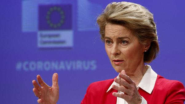 European Commission President Ursula von der Leyen speaks during a media conference on April 2, 2020.