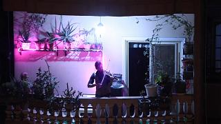Kairó: hegedűs az erkélyen