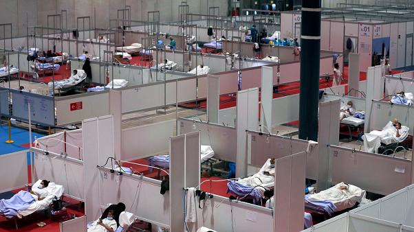 A temporary field hospital for COVID-19 patients in Madrid