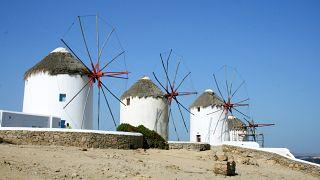 The island of Mykonos in the Cyclades, a Greek island chain in the Aegean Sea.