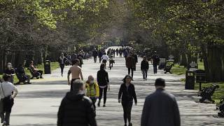 Groups of people were seen out enjoying the sunny weather in the British capital