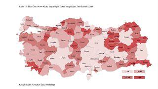 Türkiye'de kişi başına düşen yoğun bakım yatağı sayısı bölgelere göre değişiklik gösteriyor