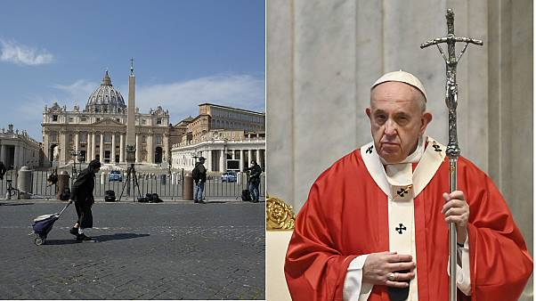 The pope delivered a Palm Sunday to a near empty St Peter's Basilica