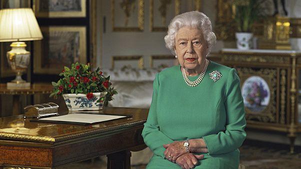 Britain's Queen Elizabeth II addresses the nation in a rare address amid the coronavirus pandemic.