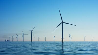 Rampion Offshore Wind Farm, UK where renewables have been generated a high proportion of national electricity last weekend.