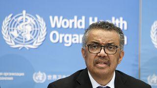 تيدروس أدهانوم غيبريسوس، المدير العام لمنظمة الصحة العالمية، مقر منظمة الصحة العالمية في جنيف، سويسرا