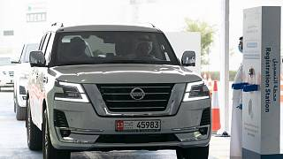 Sheikh Mohamed bin Zayed Al Nahyan, Crown Prince of Abu Dhabi, drives up to the COVID-19 drive-through mobile center in the capital, on the opening day, March 28th, 2020.