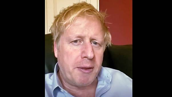 A still image from footage of Boris Johnson released by 10 Downing Street, the office of the British prime minister, on April 3, 2020