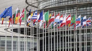 أعلام الدول الأعضاء في الاتحاد الأوروبي أمام مقر البرلمان في سترازبورغ ـ فرنسا. 2020/01/31
