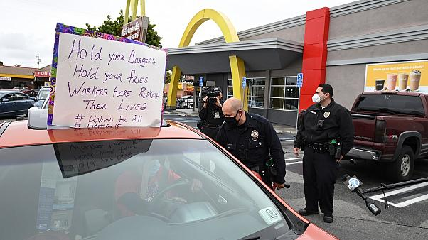 McDonald's employees protest for COVID-19 protection in Los Angeles