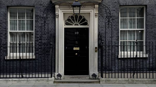 The closed door of 10 Downing Street as British Prime Minister Boris Johnson was moved to intensive care after his coronavirus symptoms worsened in London, April 7, 2020.