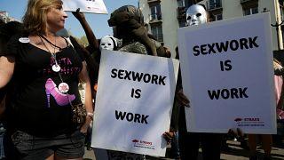 Arşiv, 8 Nisan 2017 tarihinde Paris'te seks işçilerinin haklarına yönelik bir gösteri