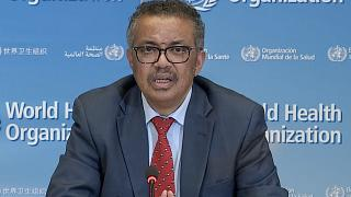 WHO Chief Tedros Adhanom Ghebreyesus attending a virtual news briefing on COVID-19 from the WHO headquarters in Geneva on April 6, 2020