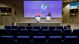 European Commission President Ursula von der Leyen gives a press conference on EU efforts to limit economic impact of coronavirus, Brussels, April 2, 2020.