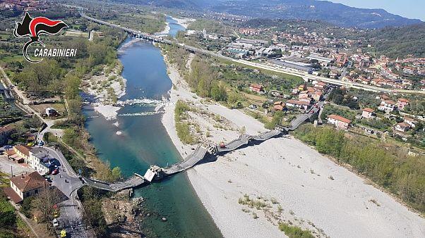 ریزش پل در مسیری معمولا شلوغ در ایتالیا؛ اعمال قرنطینه از تلفات جانی جلوگیری کرد
