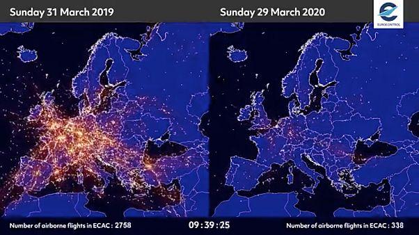 El antes y el después de la pandemia del coronavirus en el tráfico aéreo europeo