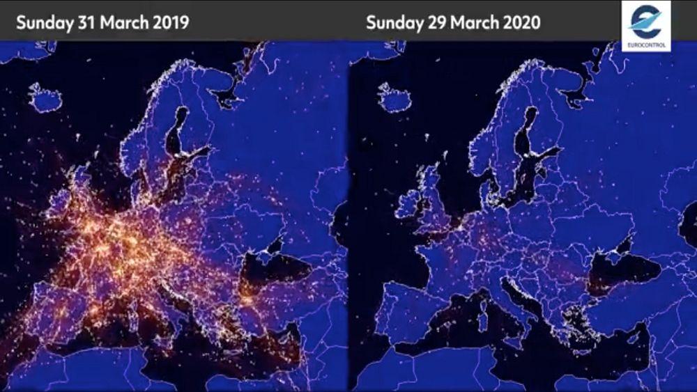 Coronavirus en Europa: vea cómo los vuelos se han desplomado sobre el continente en medio del bloqueo de COVID-19 10