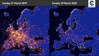 These images show how flights over European air space have plummeted amid the coronavirus lockdowns