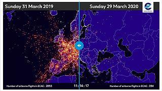 Prima/dopo, MAPPA: gli effetti del coronavirus sul traffico aereo in Europa