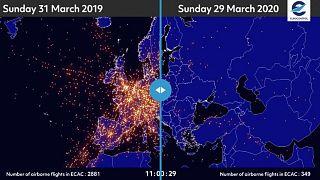 شاهد.. كيف تأثرت حركة الملاحة الجوية في أوروبا بسبب تفشي وباء كورونا