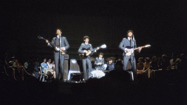 Beatles performing at Carnegie Hall in New York City, Feb. 12, 1964.