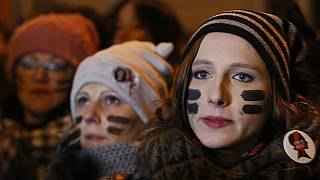 Women protest a tightening of abortion laws in Warsaw in 2017.