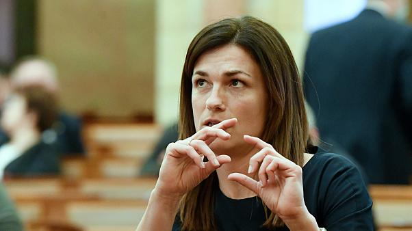 Varga Judit igazságügyi miniszter az Országgyűlés plenáris ülésén 2020. március 24-én.