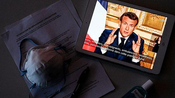 Le président de la République française Emmanuel Macron lors de son discours du 13 avril 2020.