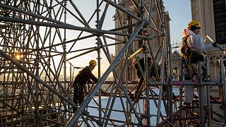 Les travaux à Notre-Dame de Paris en décembre 2019