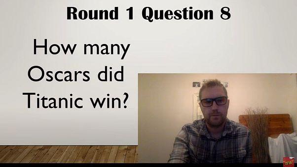 Jay Flynn hosting one of his virtual pub quizzes