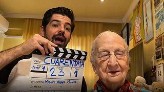 Grandma Tata filming with her nephew, the Spanish actor Miguel Ángel Muñoz
